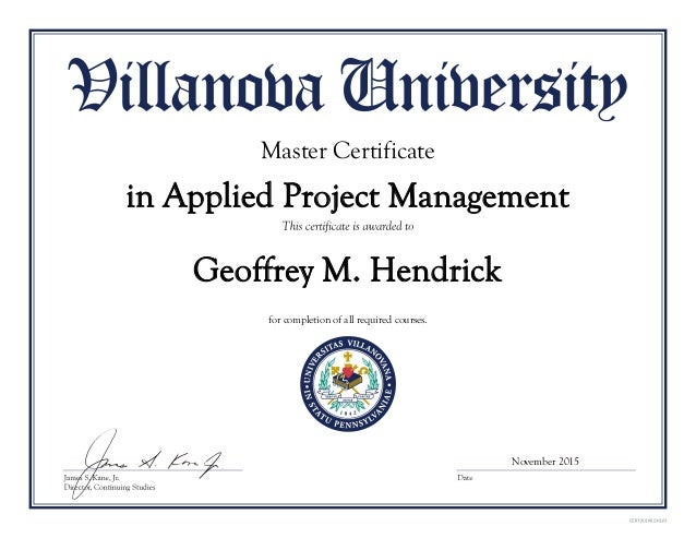 Master Certificate In Applied Project Management