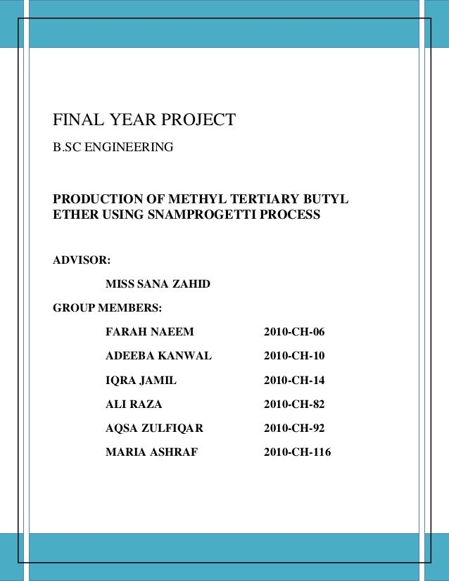 Final Year Design Project Chemical Engineering