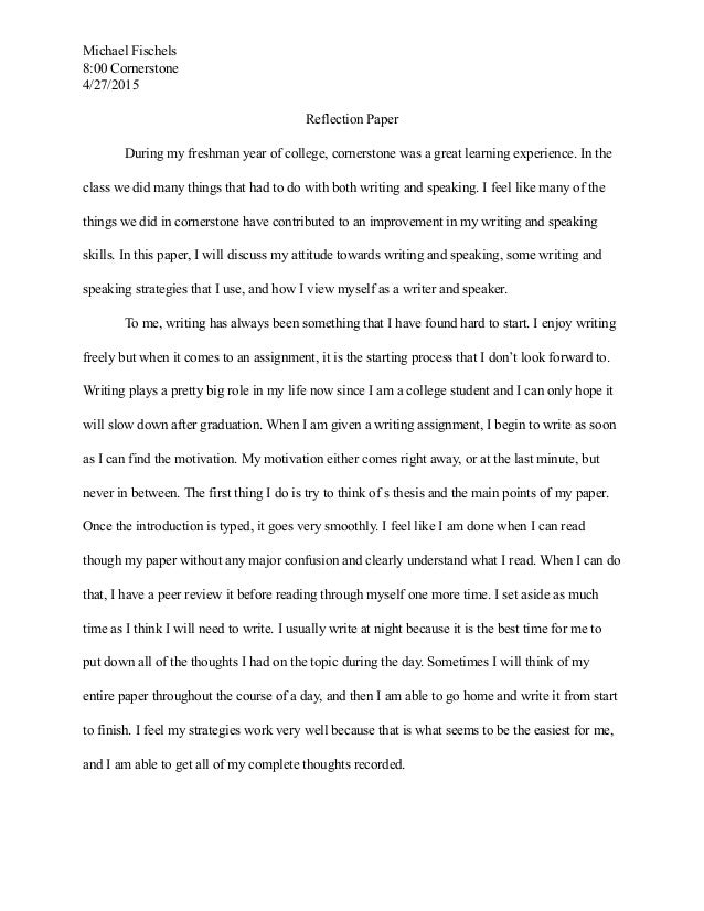 cornerstone reflection paper