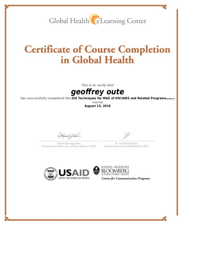 Global Health eLearning Center Certificate - GIS Techniques for M&E o…