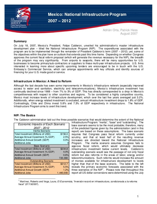 Mexic Page 1 of 5 o: National Infrastructure Program 1 Mexico: National Infrastructure Program 2007 – 2012 Adrián Orta, Pa...