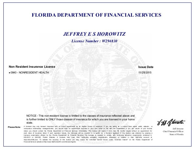 Health Insurance Florida >> Florida Health Insurance License Letter