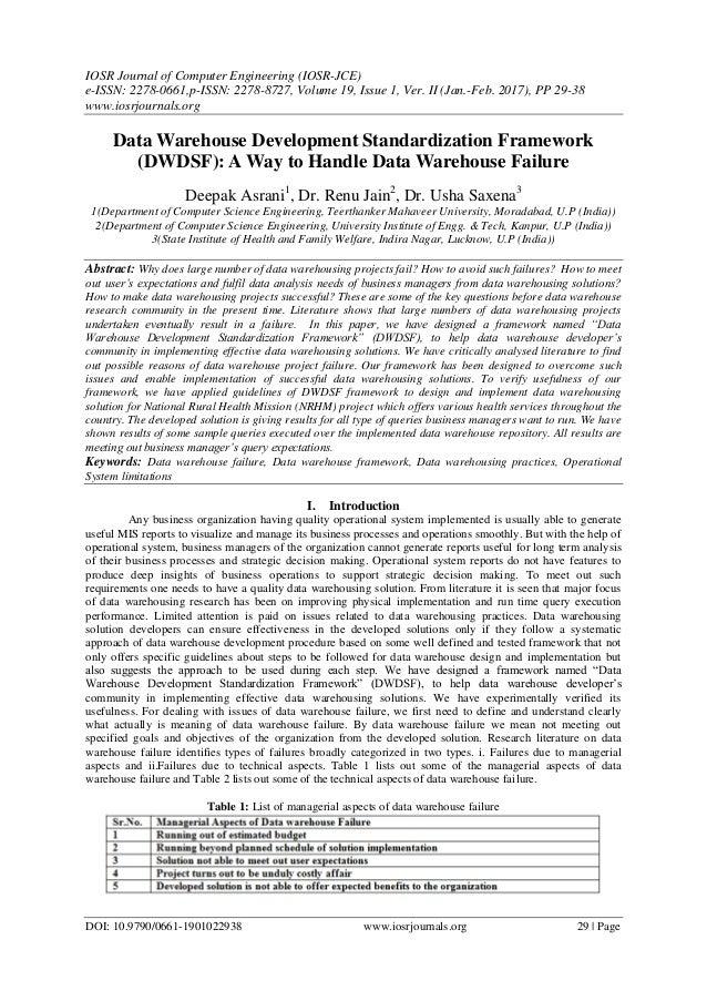 Data Warehouse Development Standardization Framework (DWDSF