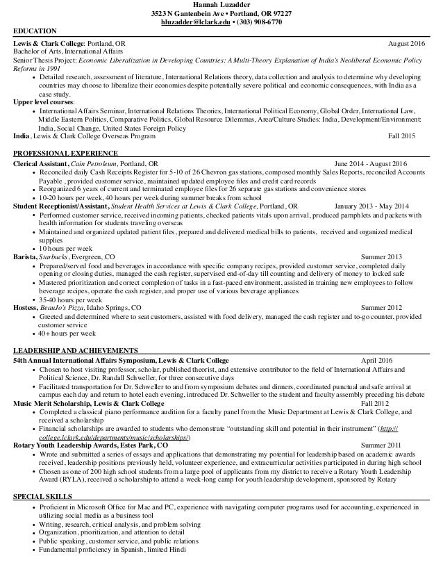 Hannah Luzadder Resume and Writing Sample