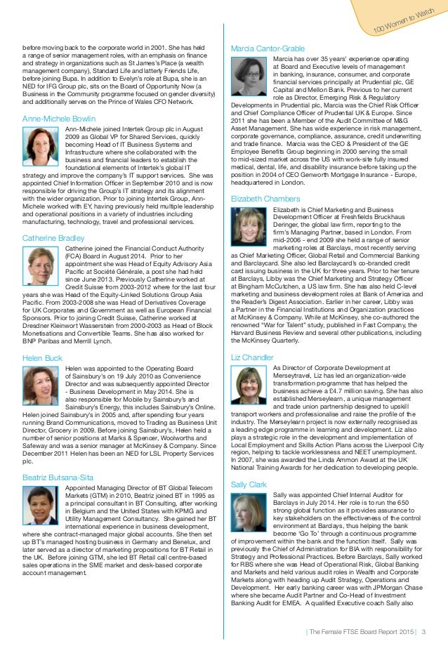 Cranfield-The Female Ftse Board Report - 100 Women To Watch 2015