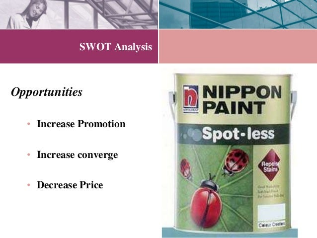 innovation analysis nippon paint co case Nippon paint is the largest and quality paint manufacturing company in asia and prominent name in paint worldwideit is number 1 in japan, china, indonesia, singapore and malaysia and key player in thailand, vietnam, taiwan, korea, and hong kong and in india.
