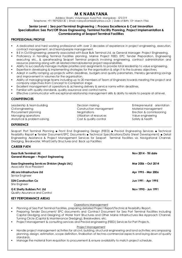 M K NARAYANA Address: Shashi, Vidyanagar, Kulai Post, Mangalore - 575 019 Telephone: +91 9879200130 | Email: narayanamk66@...