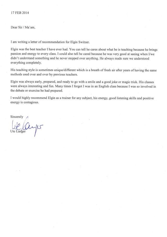 Letter of Recommendation Ute Langer
