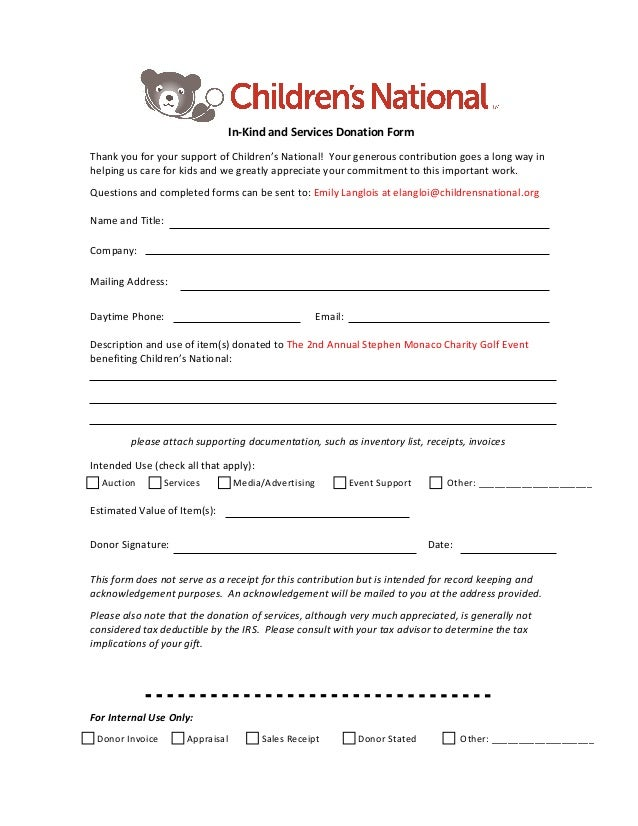 In Kind Donation Form Template Ibovnathandedecker
