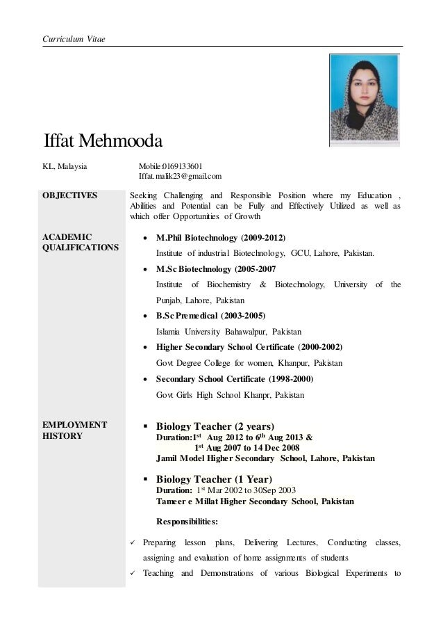 curriculum vitae iffat mehmooda objectives academic qualifications employment history seeking challenging and responsible