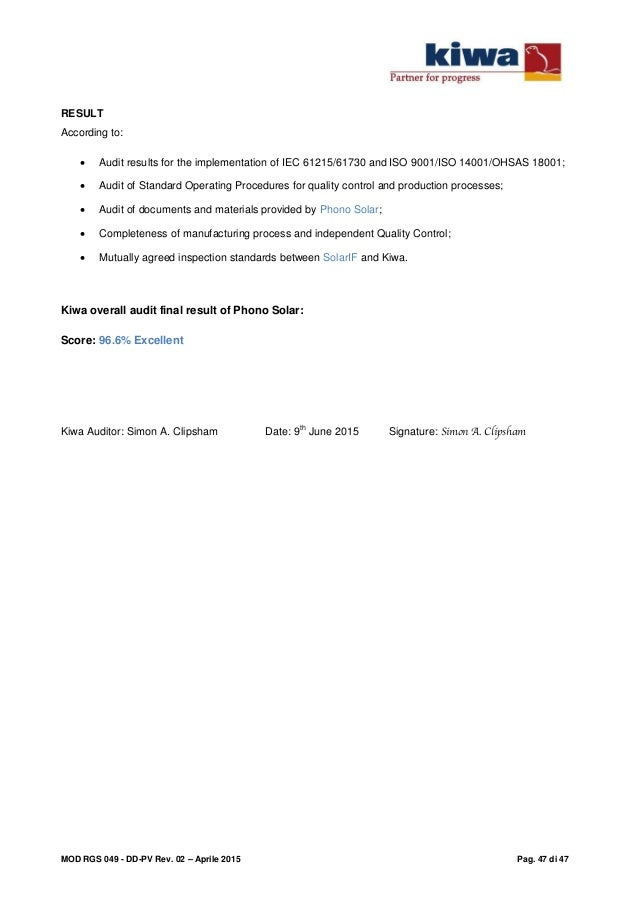 Due diligence Solarif- Audit report Kiwa - 150502184-a