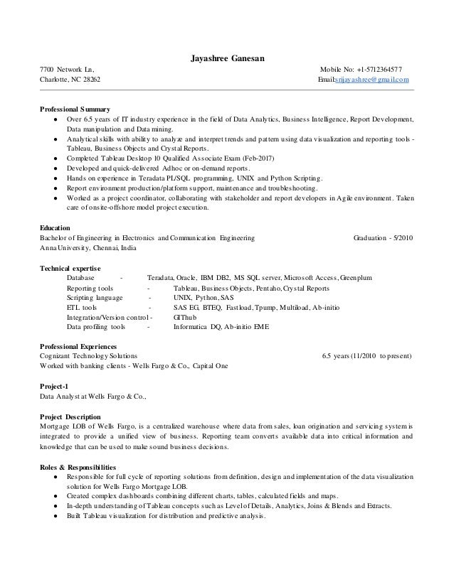 jayashree data analyst resume