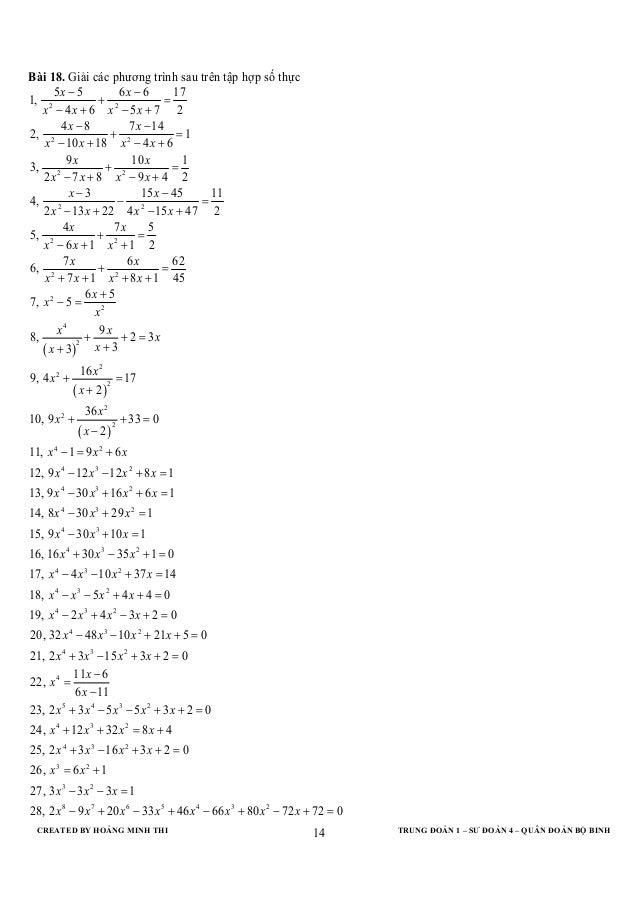 CREATED BY HOÀNG MINH THI TRUNG ĐOÀN 1 – SƯ ĐOÀN 4 – QUÂN ĐOÀN BỘ BINH14Bài 18. Giải các phương trình sau trên tập hợp số ...