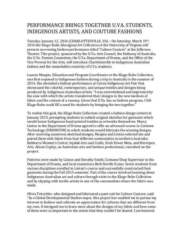 PERFORMANCE BRINGS TOGETHER U.VA. STUDENTS, INDIGENOUS ARTISTS, AND COUTURE FASHIONS Tuesday, January 12, 2016 (CHARLOTTES...