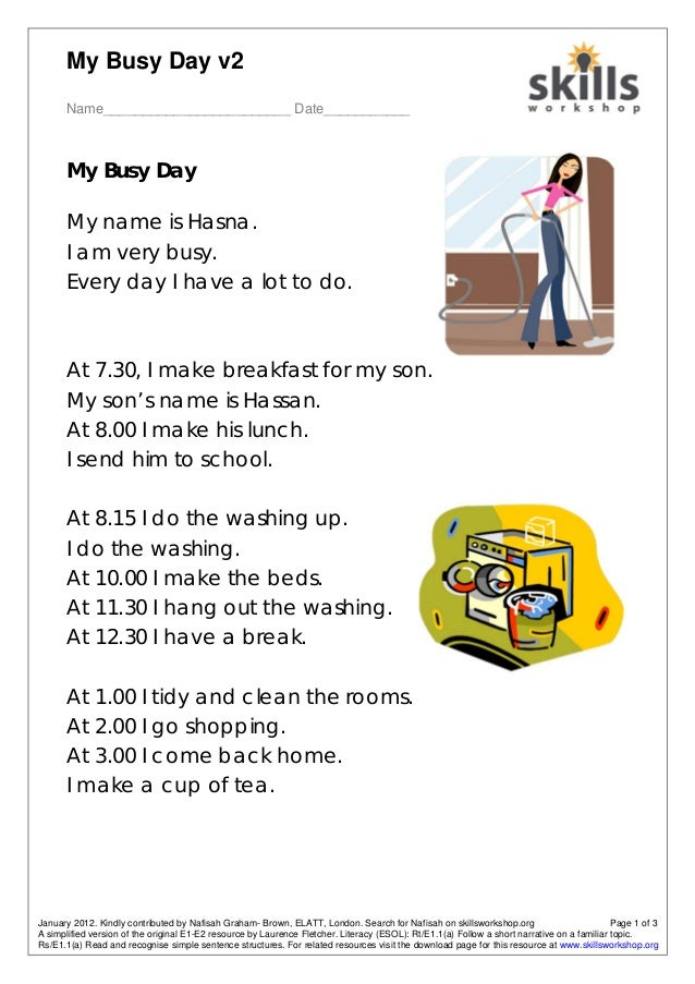 My Busy Day v2 Name________________________ Date___________ January 2012. Kindly contributed by Nafisah Graham- Brown, ELA...