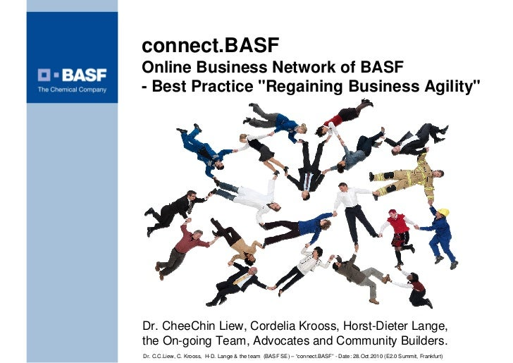 """connect.BASF Online Business Network of BASF - Best Practice """"Regaining Business Agility""""     Dr. CheeChin Liew, Cordelia ..."""