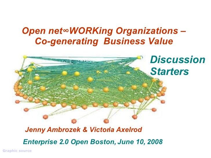 Open net∞WORKing Organizations – Co-generating  Business Value Jenny Ambrozek & Victoria Axelrod Graphic source   Enterpri...