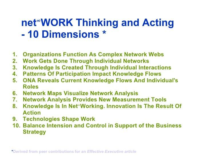 <ul><li>Organizations Function As Complex Network Webs </li></ul><ul><li>Work Gets Done Through Individual Networks   </l...