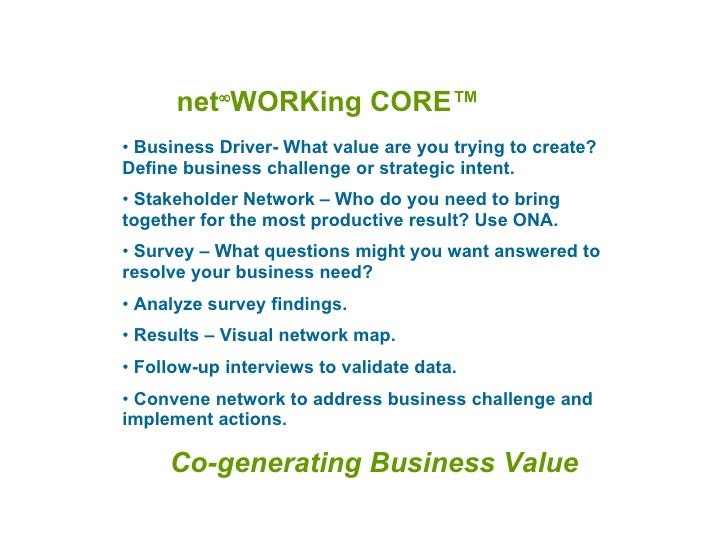 net  WORKing CORE ™ <ul><li>Business Driver- What value are you trying to create? Define business challenge or strategic ...