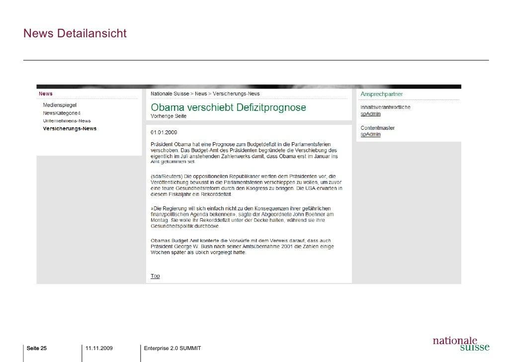 Best Practices: Intranet Nationale Suisse