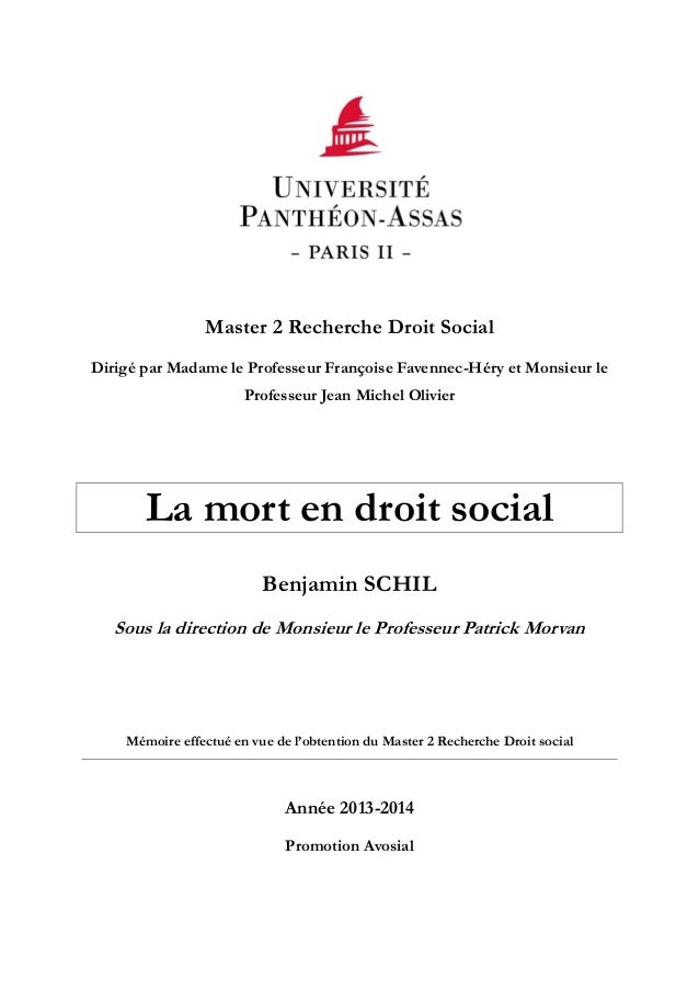 Master 2 Recherche Droit Social Dirigé par Madame le Professeur Françoise Favennec-Héry et Monsieur le Professeur Jean Mic...