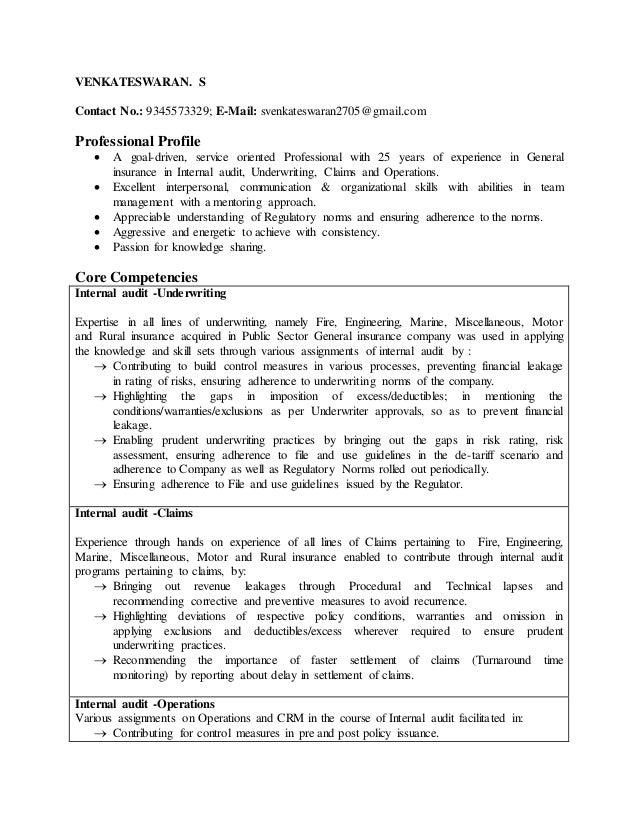 Resume S Venkateswaran Internal audit