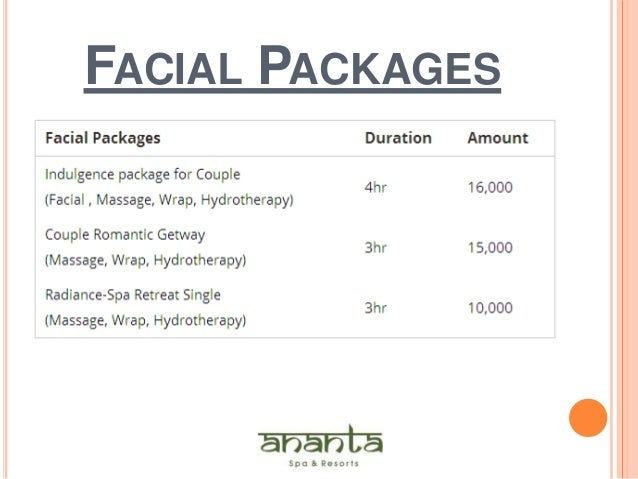 Health beauty packages ananta spa resort for Health spa vacation packages