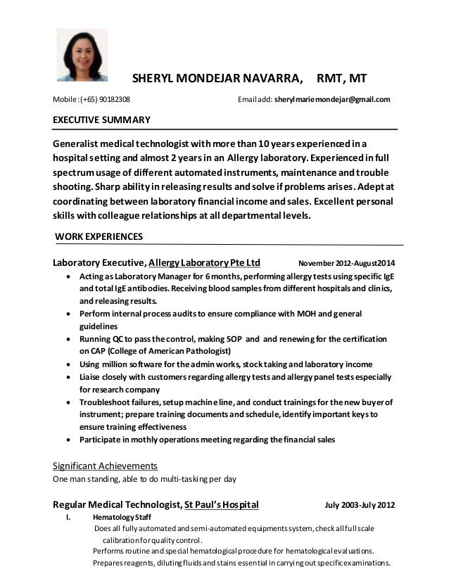 medical laboratory technician resume sample resume for certified – Medical Technologist Resume Examples
