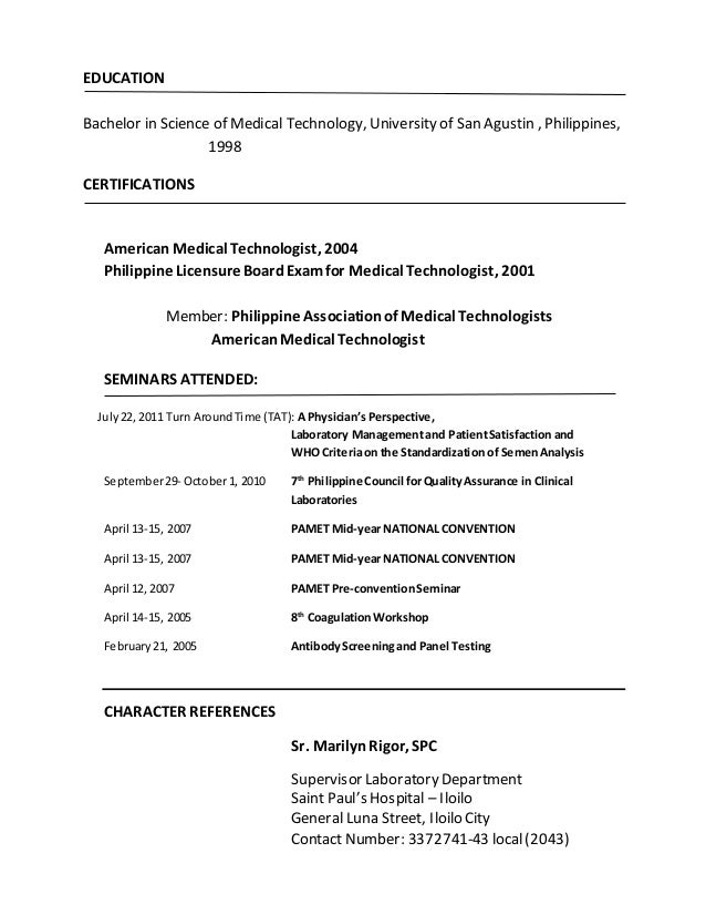 Medical Laboratory Technician Resume Sample Resume For Certified