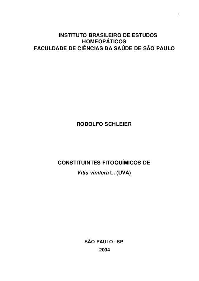1 INSTITUTO BRASILEIRO DE ESTUDOS HOMEOPÁTICOS FACULDADE DE CIÊNCIAS DA SAÚDE DE SÃO PAULO RODOLFO SCHLEIER CONSTITUINTES ...