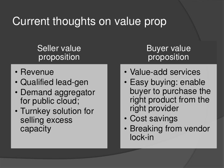 Current thoughts on value prop<br />