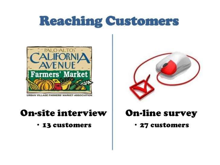 Reaching Customers<br />On-site interview<br />13 customers<br />On-line survey<br />27 customers<br />