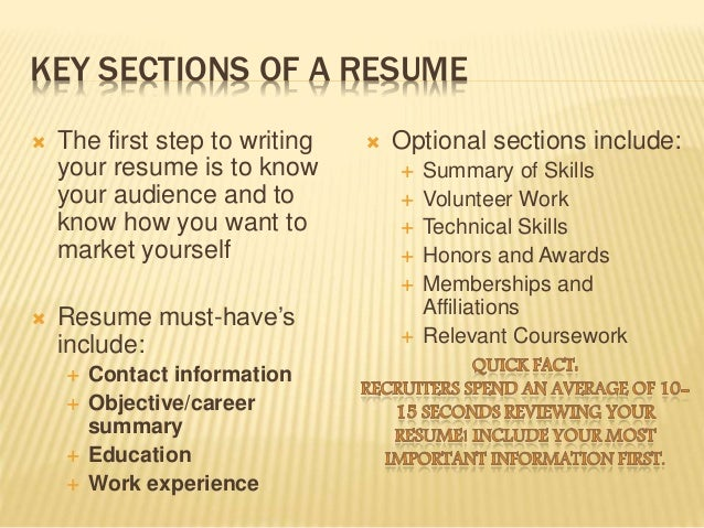 Key elements of a resume