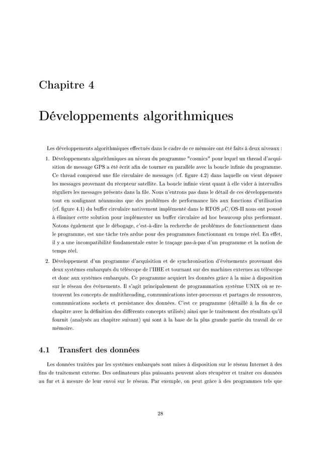 Chapitre 4 Développements algorithmiques ves développements —lgorithmiques e'e™tués d—ns le ™—dre de ™e mémoire ont été f—...