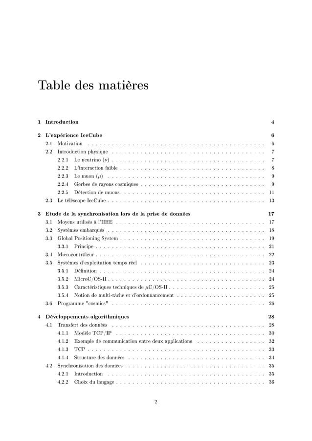 Table des matières 1 Introduction 4 2 L'expérience IceCube 6 PFI wotiv—tion F F F F F F F F F F F F F F F F F F F F F F F ...