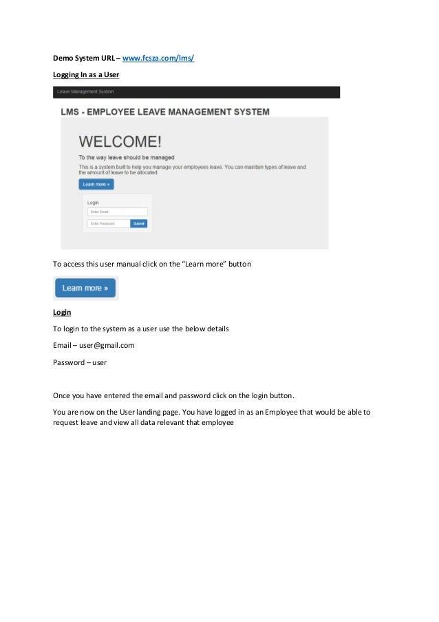 LMS - LeaveManagementSystemUserManual