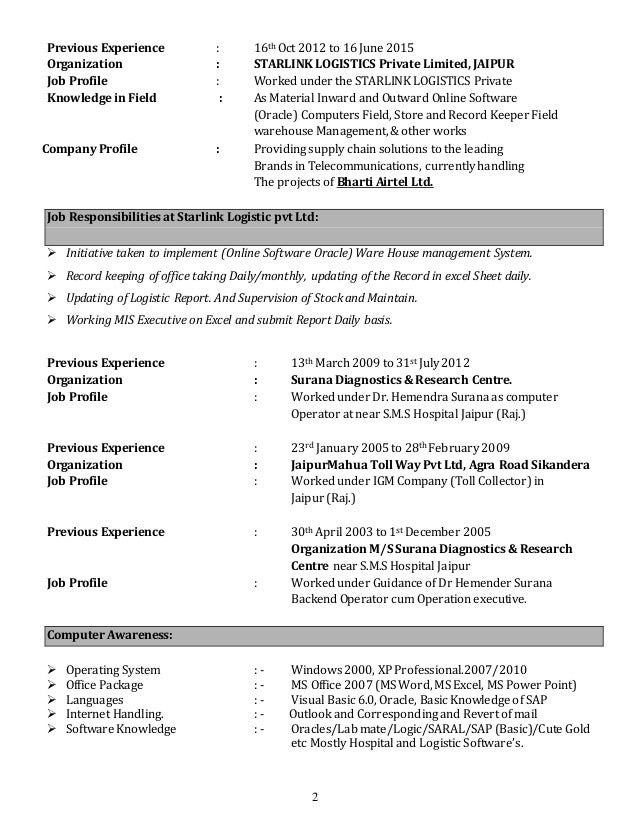 Abid Ali Resume For Back Office Operation Executive