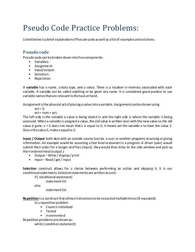 pseudo code practice problems  c basics