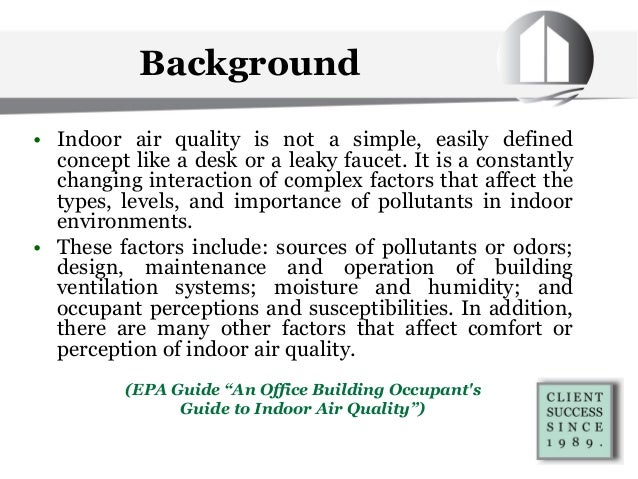 Indoor air quality indoor environmental quality overview for Indoor environmental quality design