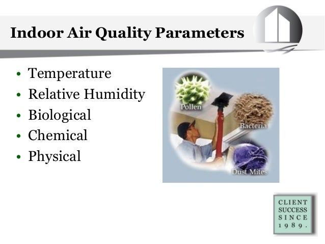 Indoor Air Quality Parameters • Temperature • Relative Humidity • Biological • Chemical • Physical