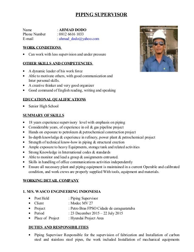 CV Dodo NEW – Piping Supervisor Resume