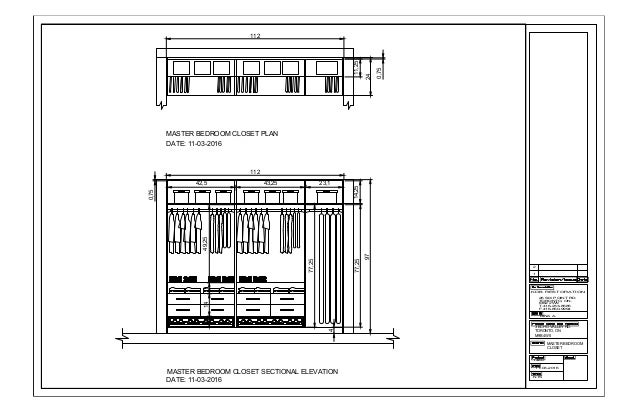 Superieur MASTER BEDROOM CLOSET PLAN MASTER BEDROOM CLOSET SECTIONAL ELEVATION 24 112  11,25 97 14