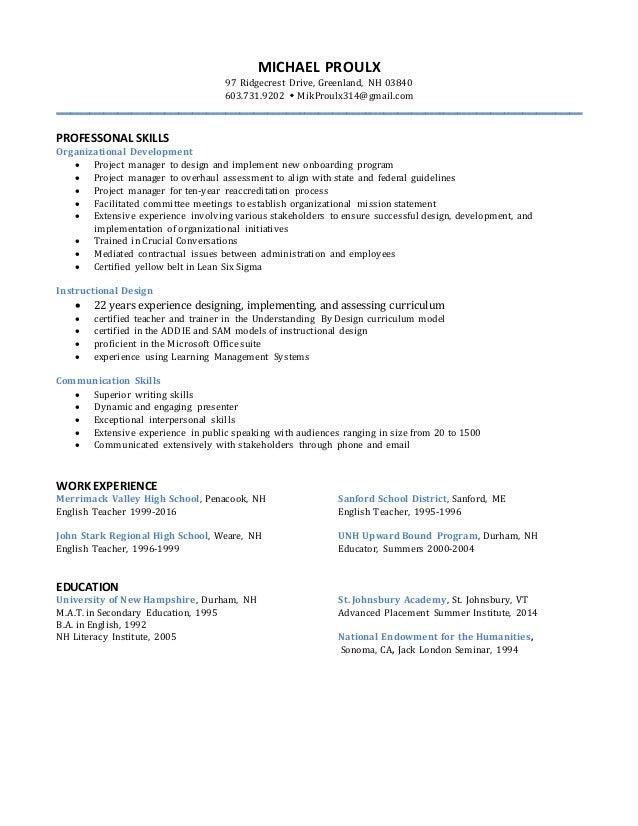 michael proulx resume 2