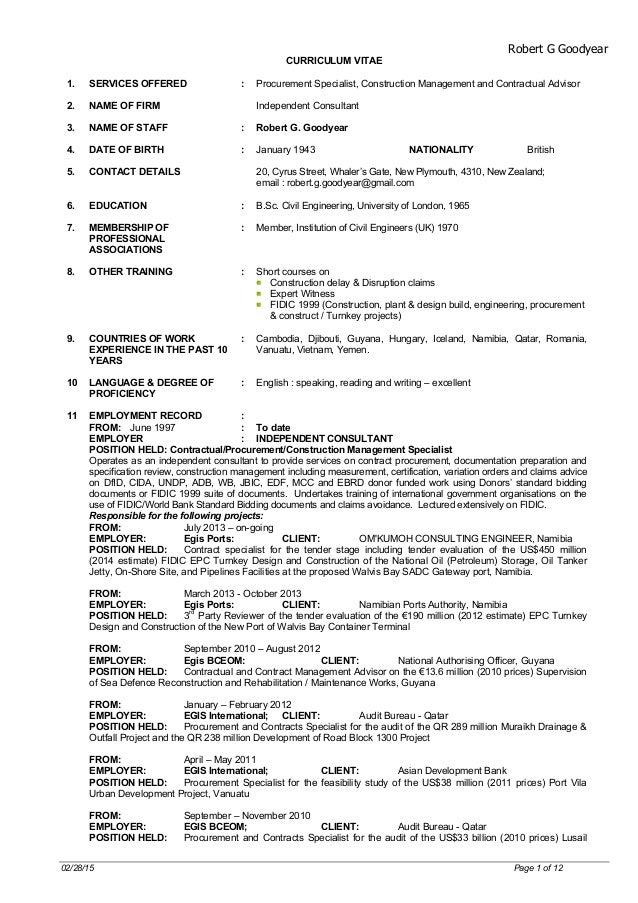 Robert G Goodyear 02/28/15 Page 1 of 12 CURRICULUM VITAE 1.