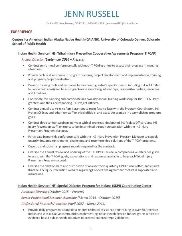 j russell resume public health oct 2016