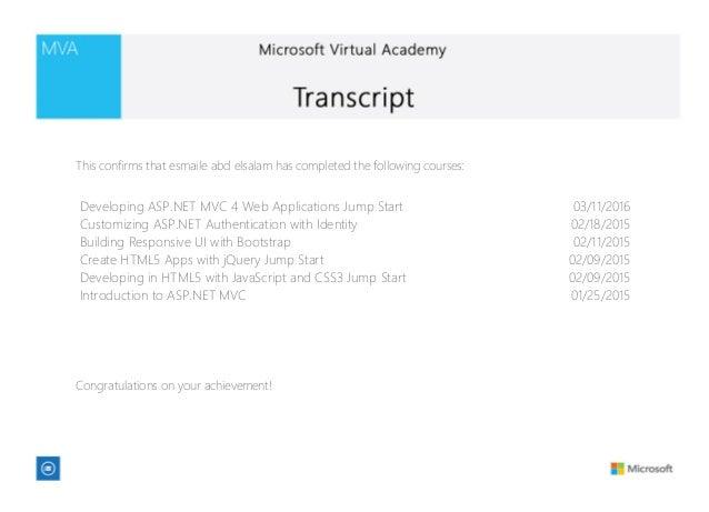 Developing ASP.NET MVC 4 Web Applications Jump Start 03/11/2016 Customizing ASP.NET Authentication with Identity 02/18/201...