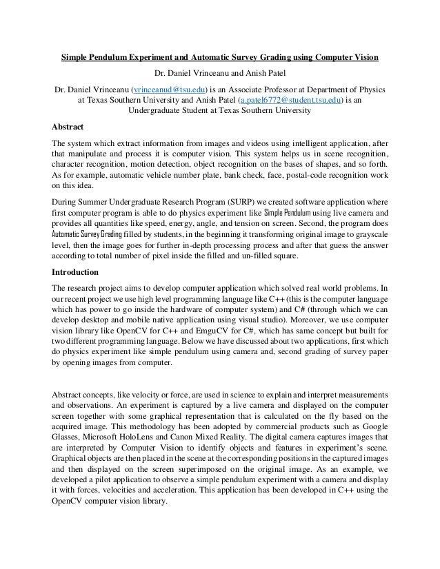 Simple Pendulum Experiment and Automatic Survey Grading using Compute…