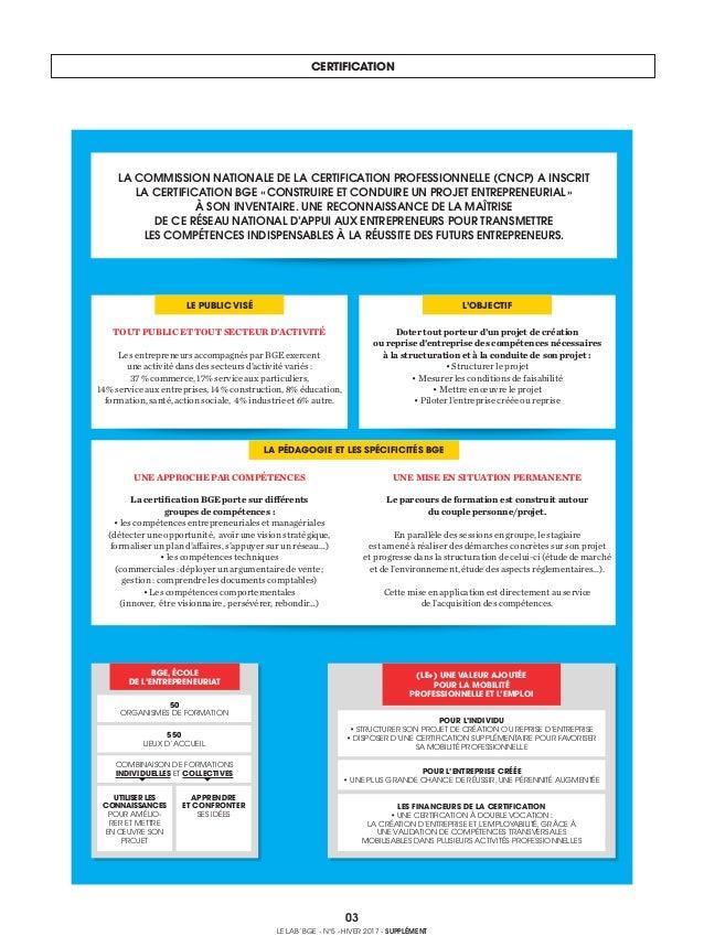 CERTIFICATION 03 LE LAB' BGE - N°5 - HIVER 2017 - SUPPLÉMENT TOUT PUBLIC ET TOUT SECTEUR D'ACTIVITÉ Les entrepreneurs acco...