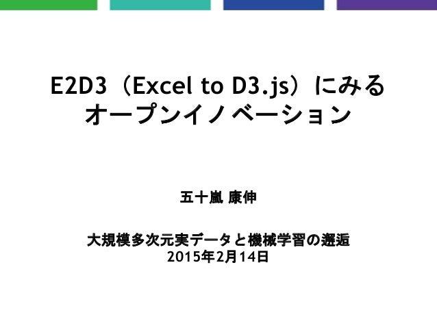 E2D3(Excel to D3.js)にみる オープンイノベーション 五十嵐 康伸 大規模多次元実データと機械学習の邂逅 2015年2月14日