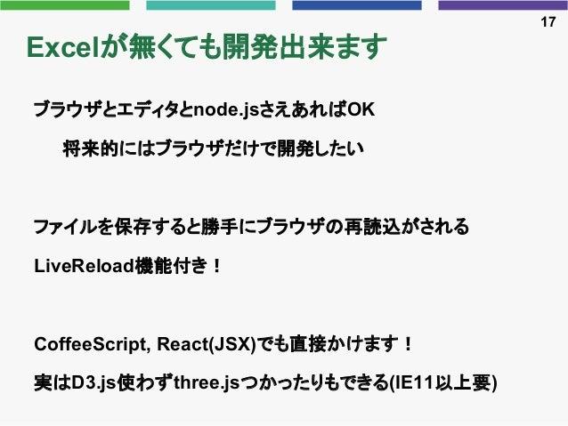 Excelが無くても開発出来ます ブラウザとエディタとnode.jsさえあればOK 将来的にはブラウザだけで開発したい ファイルを保存すると勝手にブラウザの再読込がされる LiveReload機能付き! CoffeeScript, React(...